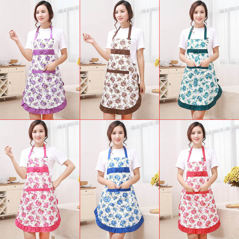 New Printed Apron with Pockets Waterproof Floral Bib Kitchen Soil Release Bowknot Home Textiles Breech Cloth(China (Mainland))