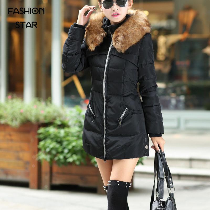 Fashion Star 2015 Women Winter Warm Long Down Parkas Female Slim White Duck Jacket Large Fur Collar Ladies Elegant Thick Coat
