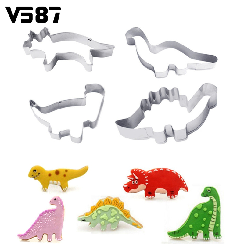 Cake Mold Dinosaur 4Pcs/Set Decorating Kitchen Cookie Cutter Animal Stainless Steel Fondant Chocolate Candy Pastry Baking Tools(China (Mainland))