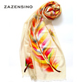 70 200CM 100 Wool Colorful Leaves Women s Scarf Hijab Big Sizes Warm Winter Female Scarves