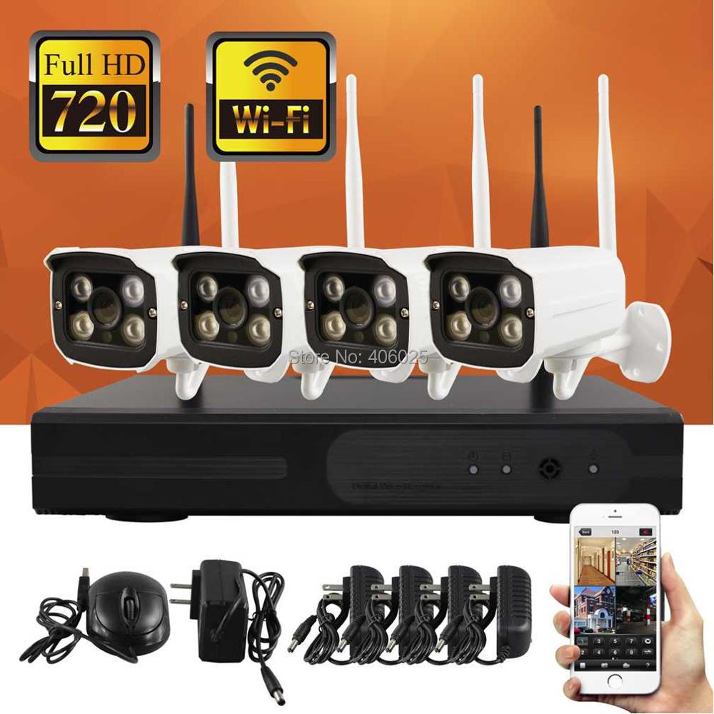 New Type 4CH 720P Wireless CCTV camera Sets Connector Wireless NVR Directly VGA HDMI Connect Monitor Smart Phone Monitor(China (Mainland))