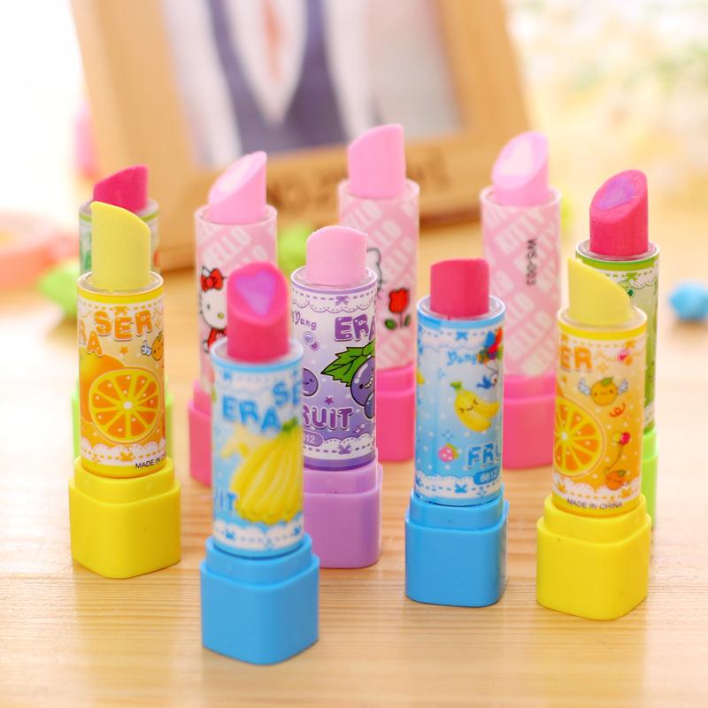 4pcs/lot Cute Fruit Lipstick style rubber erasers for girls Novelty pencil eraser kids ...