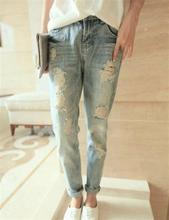 Caliente venta 2015 mujeres Casual pantalones lápiz moda Vintage Loose Jeans agujero Roll Up pantalones Harem del todo fósforo(China (Mainland))