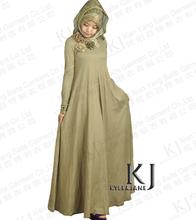 Plus size Muslim dress bayan etnik elbiseler cotton knitted fabrics islamic products kaftans for women long sleeve KJ-AM32(China)