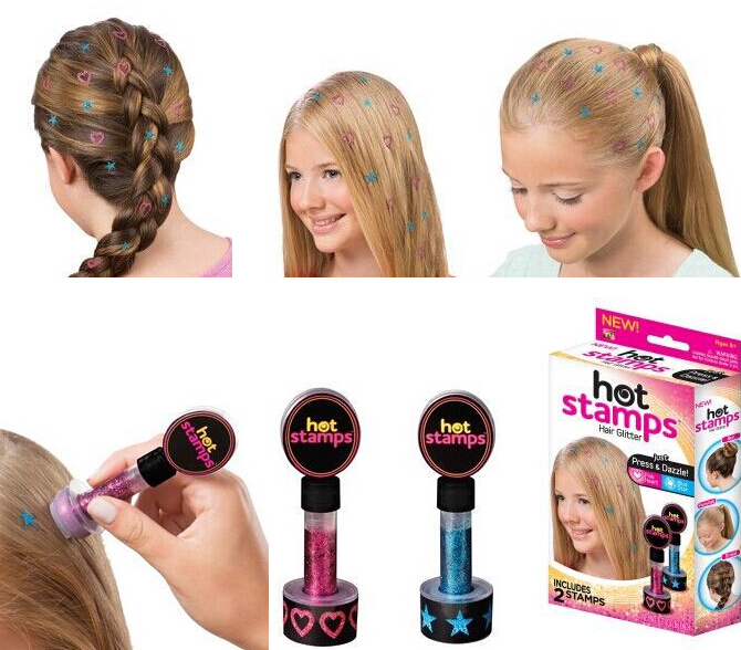 Free shipping, Hot Stamps Hair Glitter Press & Dazzle , Hair Styling New includes 2 stampls(China (Mainland))