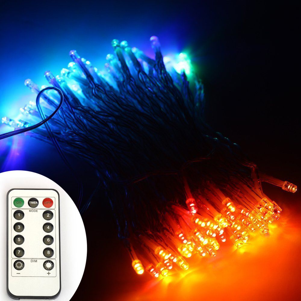 5pcs/lot 33Ft 100 leds Warm / White / RGB String Lights PVC Wire Battery Powered  8 Modes Remote Control Waterproof<br><br>Aliexpress