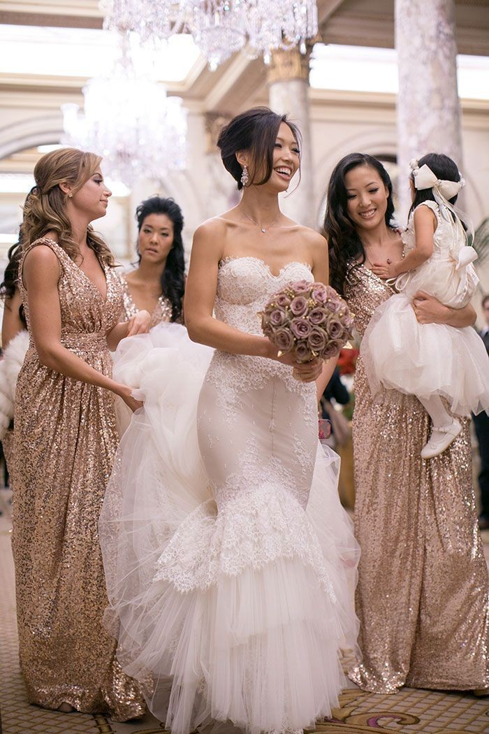 2015 Rose Gold Sequins Bridesmaid Dresses V Neck A Line Floor Length Gold Bling Long Plus