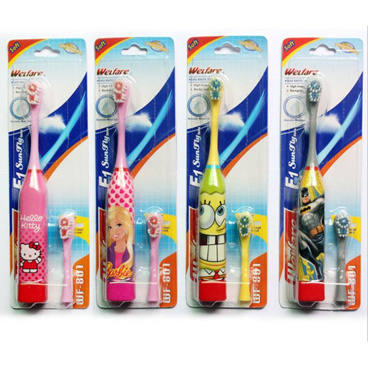 Super Cute Cartoon Children Kid Kids Sonic Vibration Electric Toothbrush Teethbrush + Extra Replacement Toothbrush Head(China (Mainland))