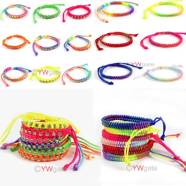 2 styles for choose Lucky Mixed Braid Friendship Cords Strand Rhinestone Bracelet 260605 260606