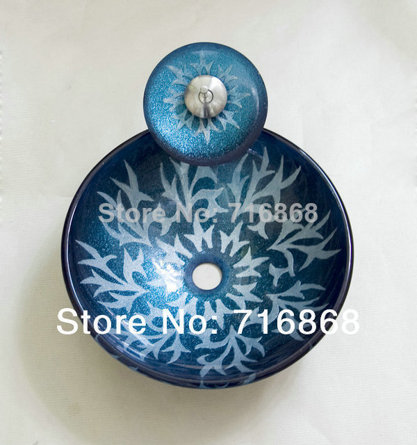 4136-1 Art Counter-top Round Blue Victory Hand Paint Color Washbasin Sinks Glass Sink With Faucet Set<br><br>Aliexpress