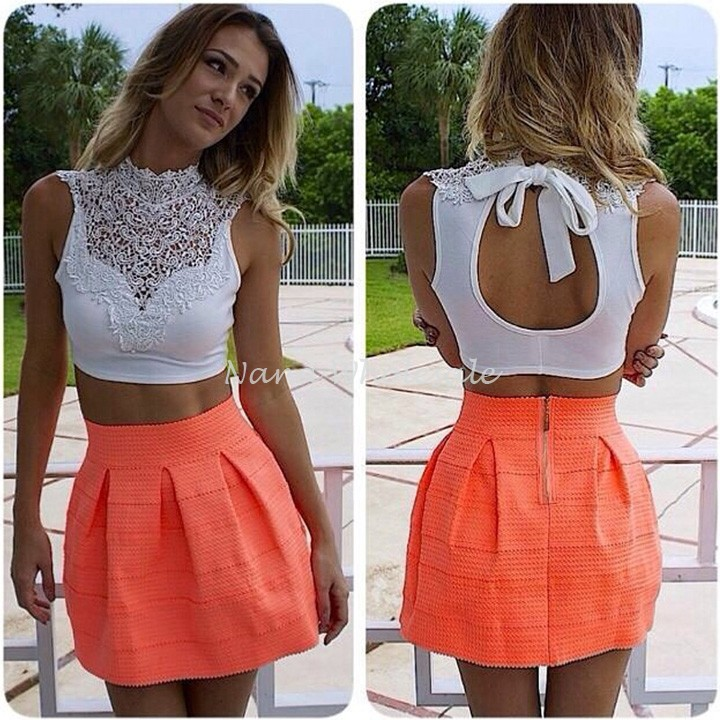 2014 Summer Women Crop Top Sexy Backless Sleeveless Short Vest Hollow Out White Lace Tank Tops 30(China (Mainland))