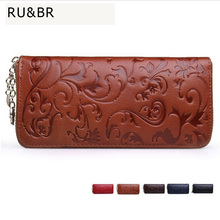 Hot Sale Vintage Women Genuine Leather Wallets Long Clutch Embossing Wallet Ladies' Retro Purse Money Clips Card & ID Holder(China (Mainland))