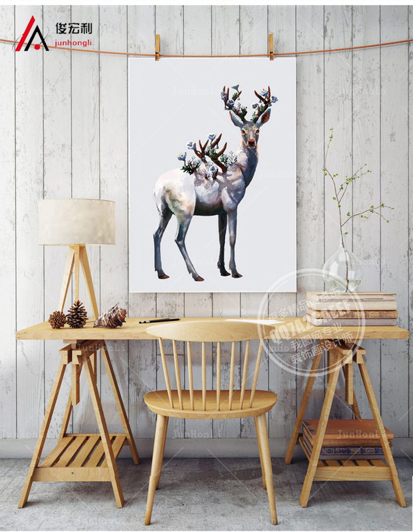 large canvas painting Deer Head Poster Print Abstract Animal Picture Canvas Painting No Frame Gift Home Decor Wall Art(China (Mainland))
