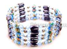 "Buy SALE Round 6mm Sky-Blue Cloisonne Hematite Magnetic Beads & Blue Crystal Tibetan Silver Beads 29"" Necklace/Bracelet -bra276 for $5.39 in AliExpress store"