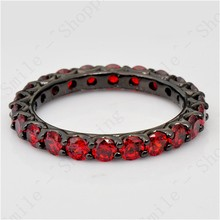 Ruby Jewelry Women Ring Size 6 7 8 9 10 Red Band 10KT Black Gold Filled