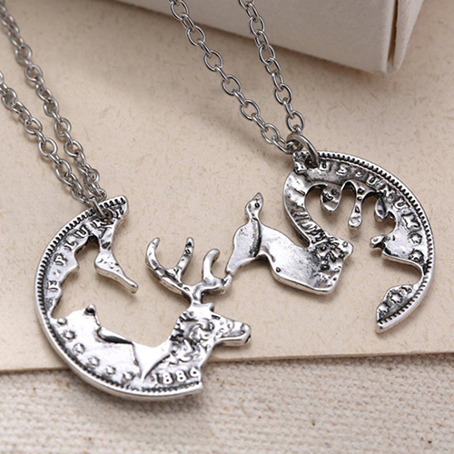 2Pcs Unisex Lover's Vintage Silver Tone Deer Camel Charm Pendant Chain Necklace 6Y49(China (Mainland))