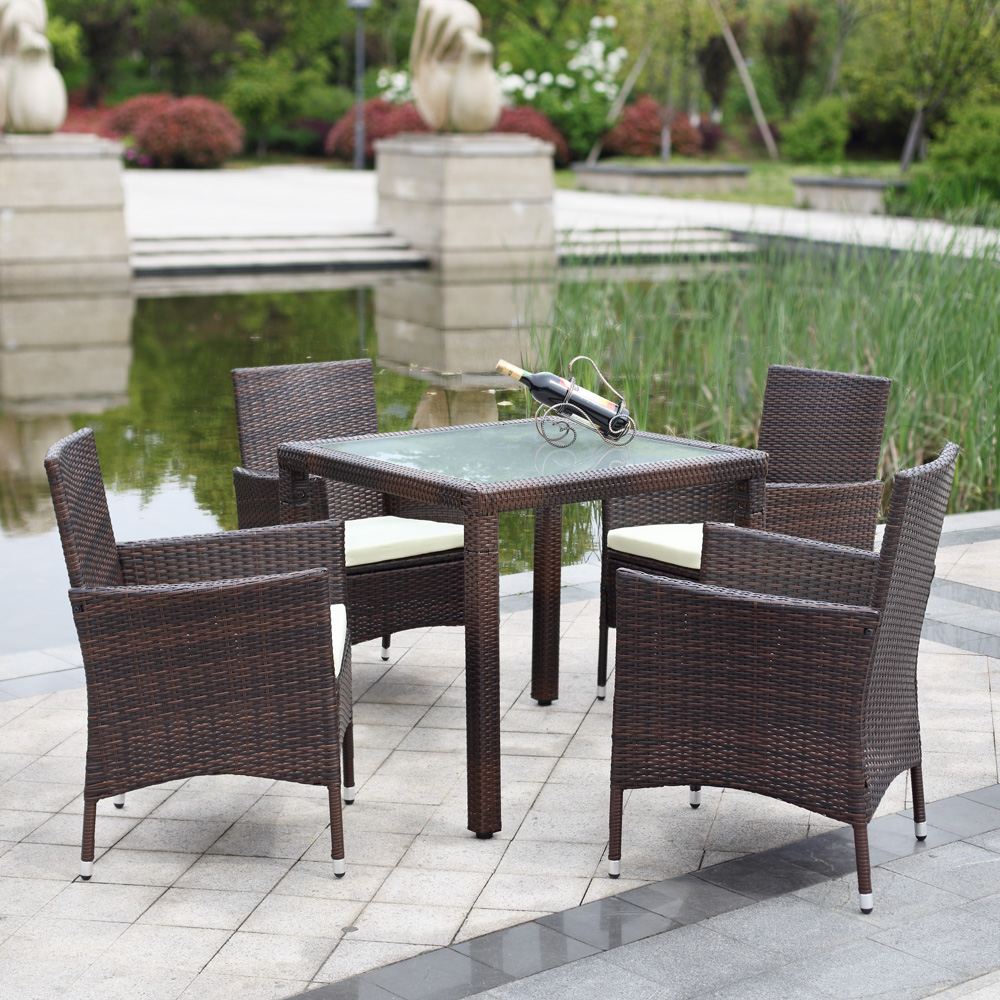 US IKAYAA Wicker Rattan Outdoor Dinning Table Chair Set Cushioned Garden Patio Furniture Set tuinmeubelen salon de jardin 5PCS(China (Mainland))