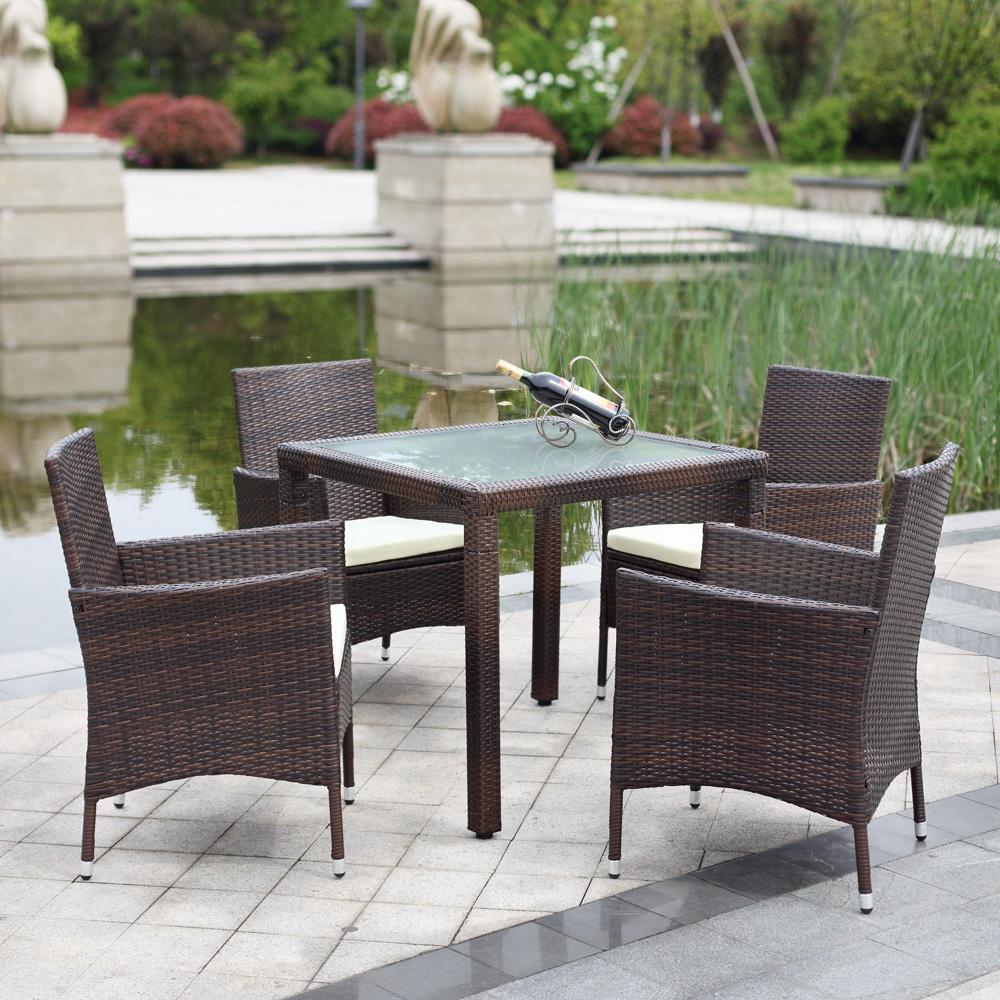 iKayaa US Stock 5PCS Wicker Rattan Outdoor Dinning Table Chair Set Cushioned Garden Patio Furniture Set tuinmeubelen(China (Mainland))