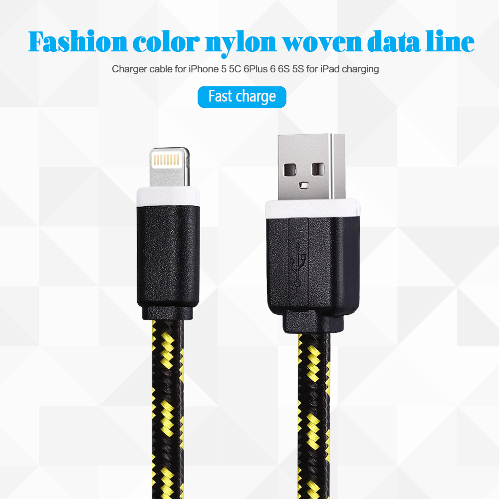 1M 2M 3M Colorful Nylon Braided 8 Pin Transfer Data Sync Line Charging Charger Cable for iPhone 5 5S 5C 6 6Plus 6S for iPad(China (Mainland))