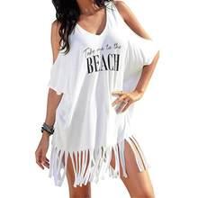 שמלות נשים קיץ סקסי חוף Boho Midi שמלת נשים בגדי ציצית מכתבי הדפסת בגדי ים כיסוי חוף Midi שמלת vestidos 7L22(China)