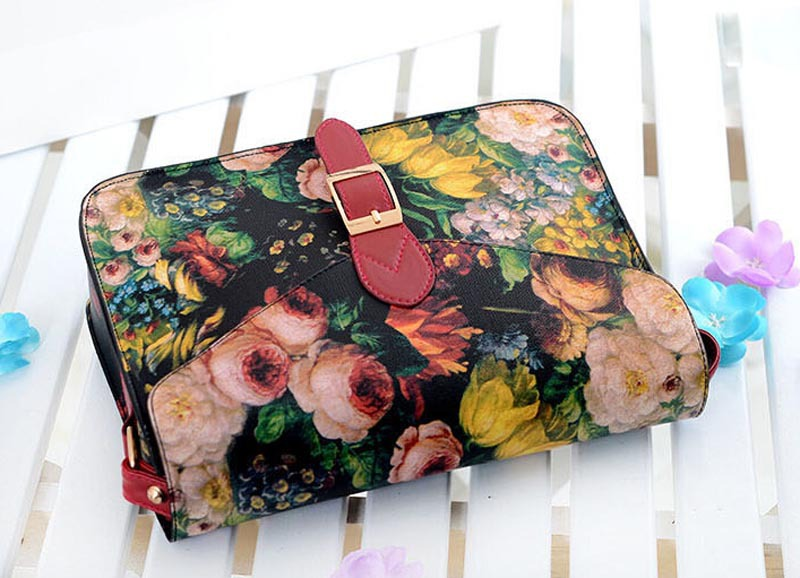 sunshine2015 new arrival hot sale free shipping exquisite Women Painting Flowers Leather Crossbody retro Handbag Tote Bags Purse<br><br>Aliexpress