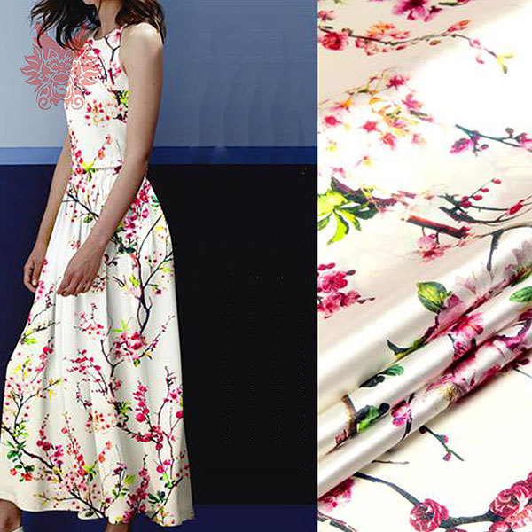 Free shipping 2015New luxury Peach blossom digital print pure spandex/silk fabric for dress/suit,Charmeuse fabric SP1924