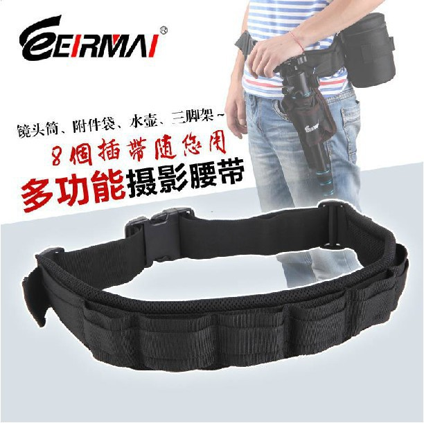 Padded Camera Waist Belt Lens Bag Holder Case Pouch Holder Pack Strap Adjustable(China (Mainland))