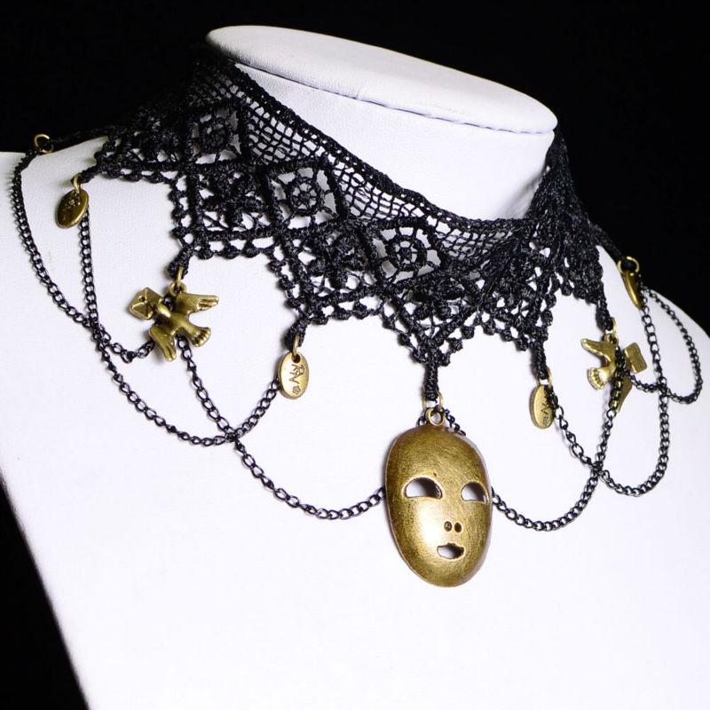 Statement Necklace 2015 Pendant Fashion Jewelry Black Lace Skull Style Long Necklace Female Women Jewlery Pendant