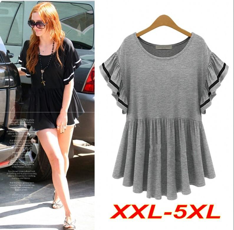 XXL-5XL Plus Size T shirt Women Knitted Skirt Ruffles Butterfly Sleeve Loose Long Tops For Women T shirt Stretchy T5603(China (Mainland))