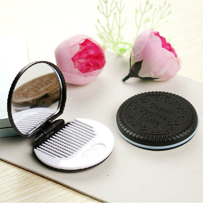 Dark Brown Cute Chocolate Cookie Shaped Design Makeup Mirror with 1 Comb Lady Women Makeup Tool Pocket Mirror Home Office Use(China (Mainland))