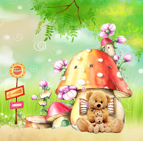 Photo10x20ft Photography Vinyl Backdrop Picture Mushroom & Bears New2015 Sales Photographic Background For Activities 3x6m S-397(China (Mainland))