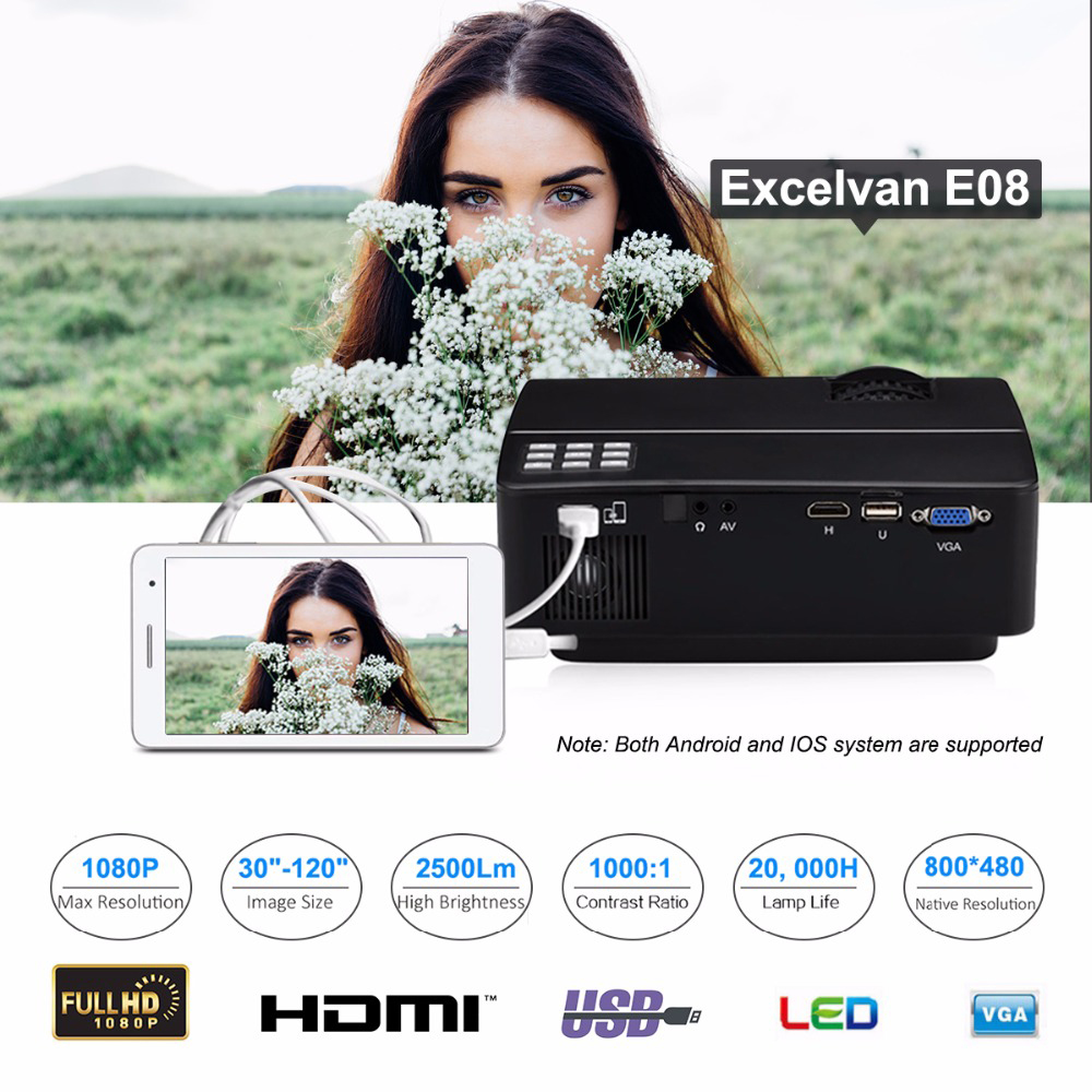 Excelvan E08 LED Smartphone Projector Home Cinema Beamer 1080P-read 2500Lumen Support Multi-screen Interaction Via Data Cable(China (Mainland))