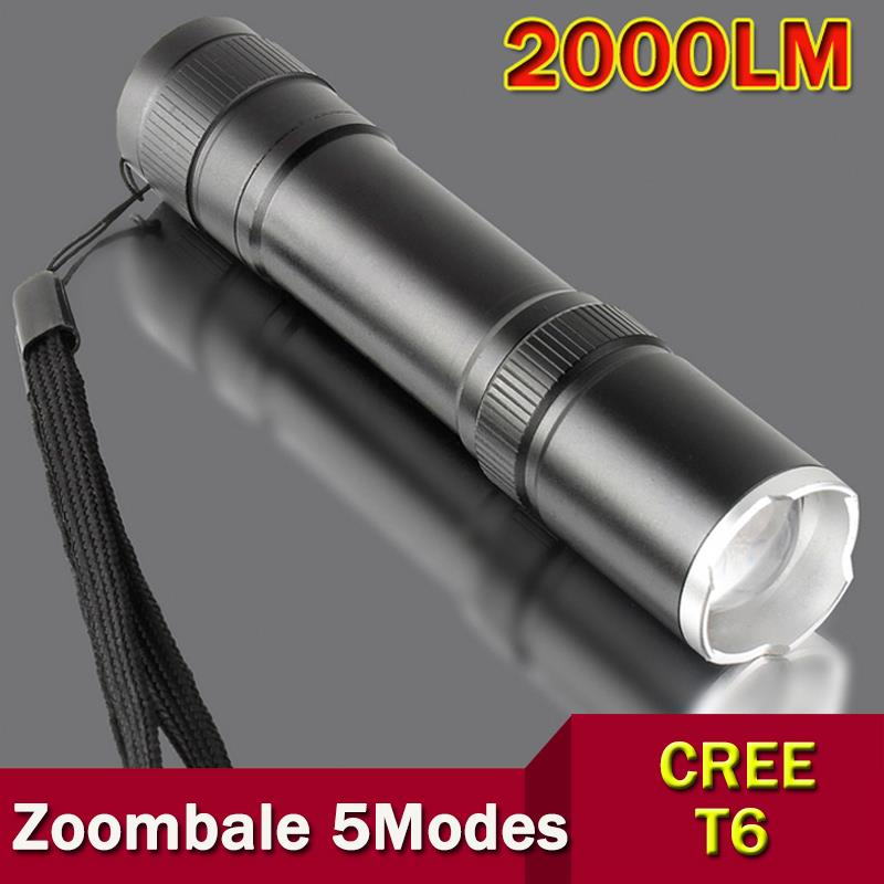 CREE XML T6 led flashlight 2000LM Aluminum Zoomable Tol selling cree Torch lamplight for 1x18650 battery free shipping ZK92(China (Mainland))