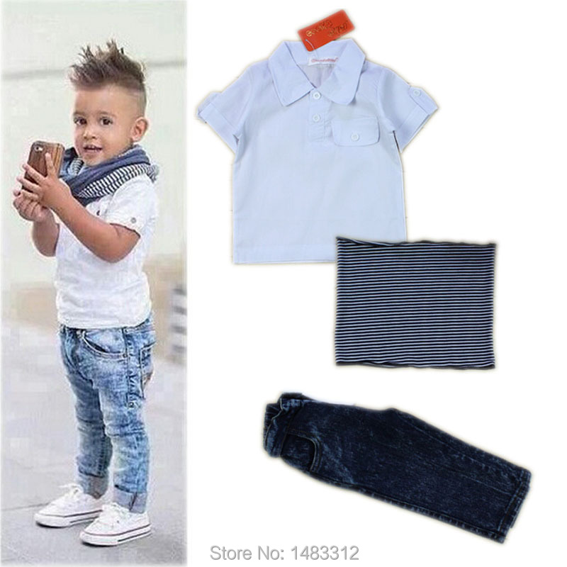 New Brand Summer 2-8 Years baby Boy hoodies Sets Kids Clothes Boys Costumes short Sleeve Polo Shirt+ jeans Children Clothing Set(China (Mainland))