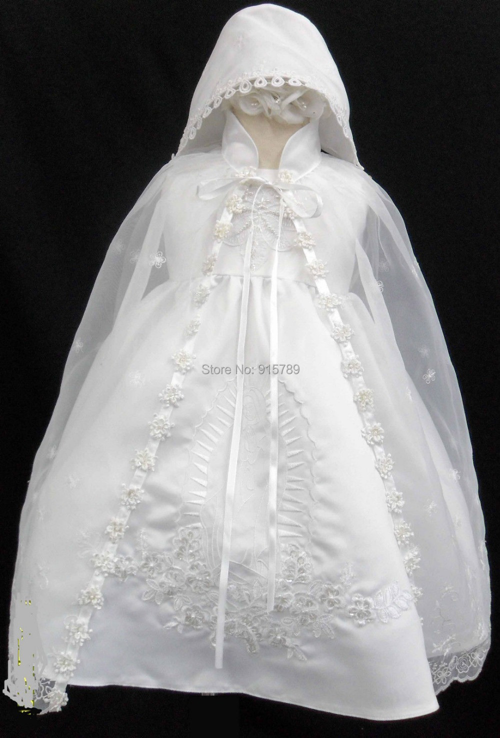 Infant Baby Girl Christening Baptism Dress Gown White