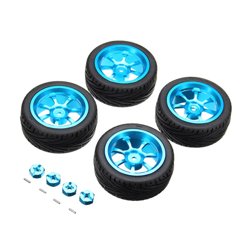 4PCs Rim and Tires with 7mm To 12mm Adapter For 1/18 WLtoys A949 A959 A969 A979 K929 Rc Car Parts 1:10 aluminium alloy Wheels(China (Mainland))