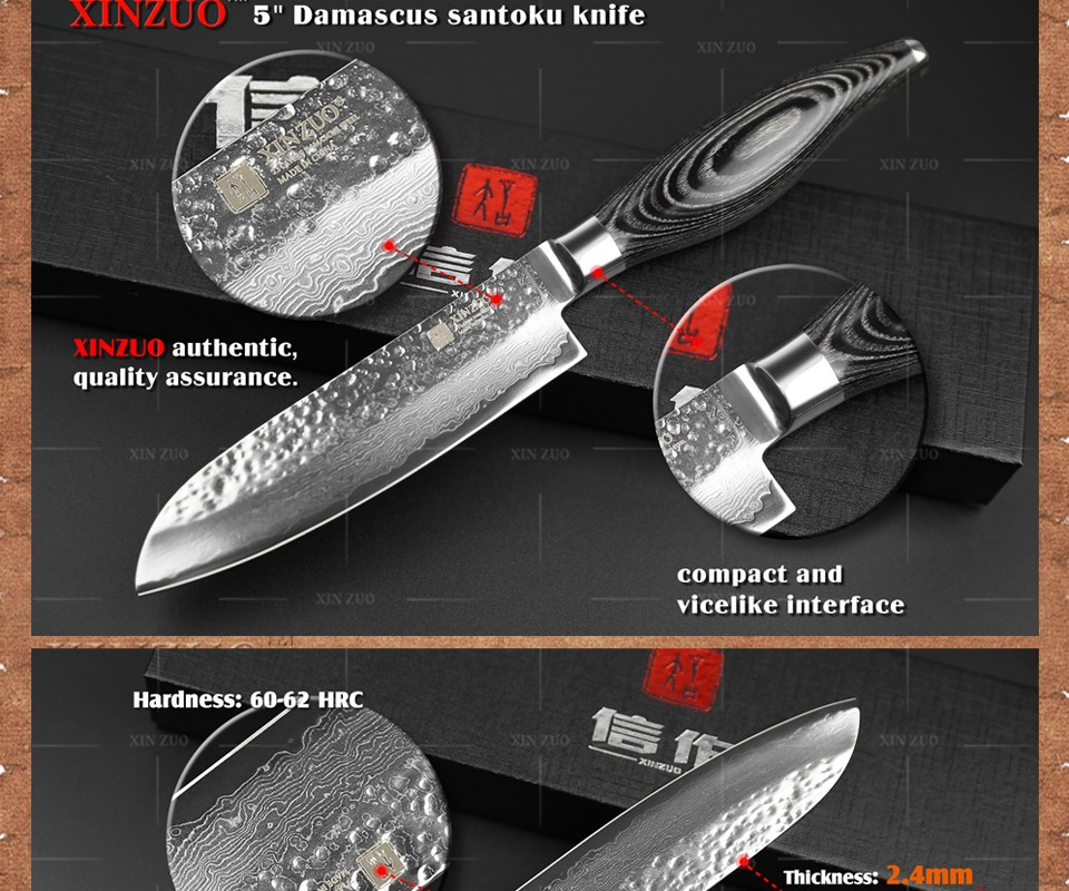 "Buy NEWEST XINZUO 5"" inch santoku knife 73 layers Damascus kitchen knife japanese VG10 chef knife Color wood handle free shipping cheap"