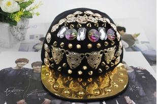 Free shipping! 2015 peaked cap of non mainstream punk rivets Baseball Cap Hat hip-hop hip-hop Unisex baseball caps(China (Mainland))