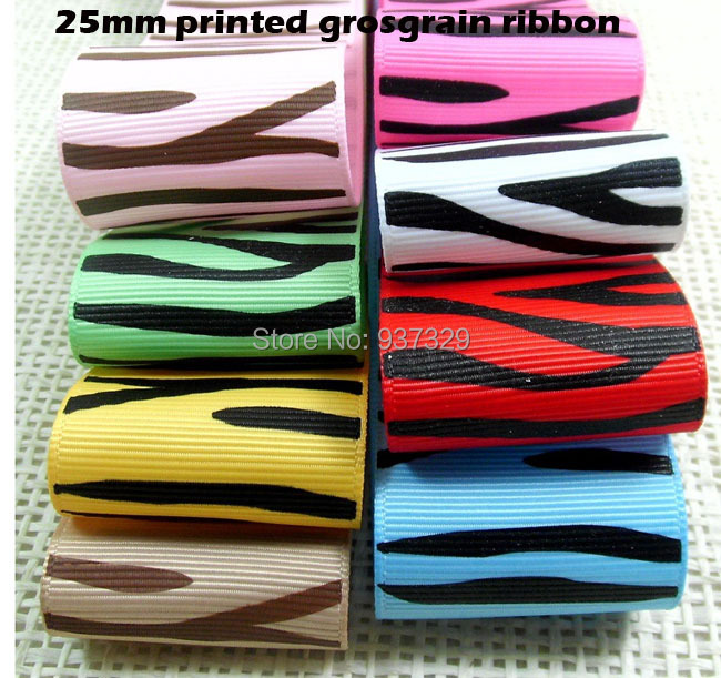 16Meters/lot Brand New 1'' 25mm Tiger Stripe Printed Grosgrain Ribbons DIY Ribbon For Hairbow Accessories 9-005(China (Mainland))