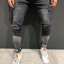 Múltiples modelos hombres Vintage streetwear hip hop religion Jeans destruidos deshilachado hombres motocicleta Joggers pantalones 40(China)