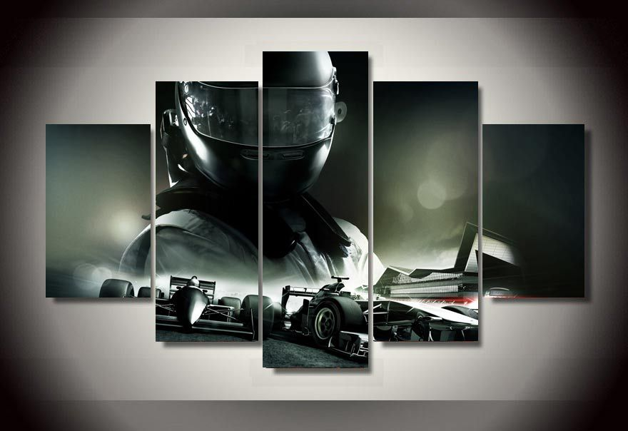 Framed Printed F1 Racing Car 5 Piece Picture Painting Wall
