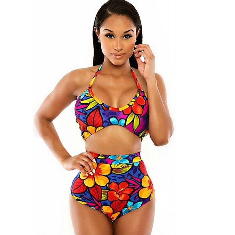buy halter sleeveless bikini set colorful. Black Bedroom Furniture Sets. Home Design Ideas
