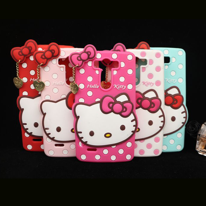 3D cute Hello Kitty Bow & Dot Soft Silicone Back Cover Case For LG Optimus G3 mini G3s D722 D725 D728(China (Mainland))