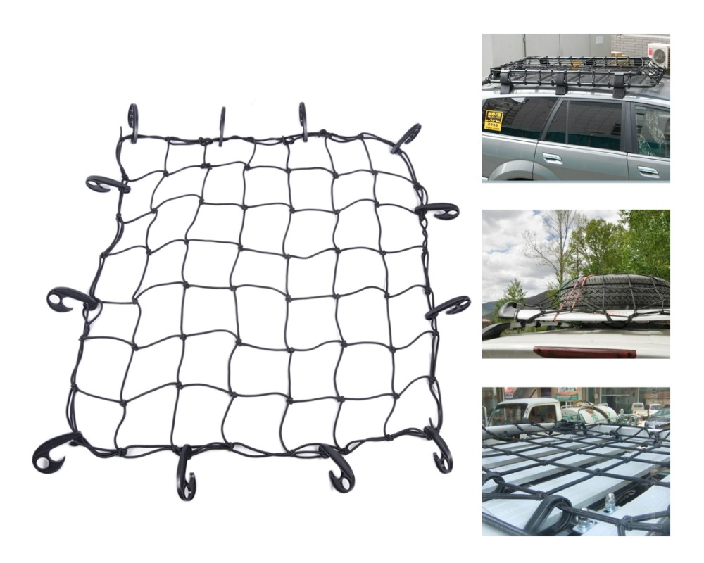 Tracking # Universal New 12 Hooks Hold Down Luggage Net Elastic Bungee Car SUV Truck Trailer Cargo Roof Rack Basket Net 70x70cm(China (Mainland))