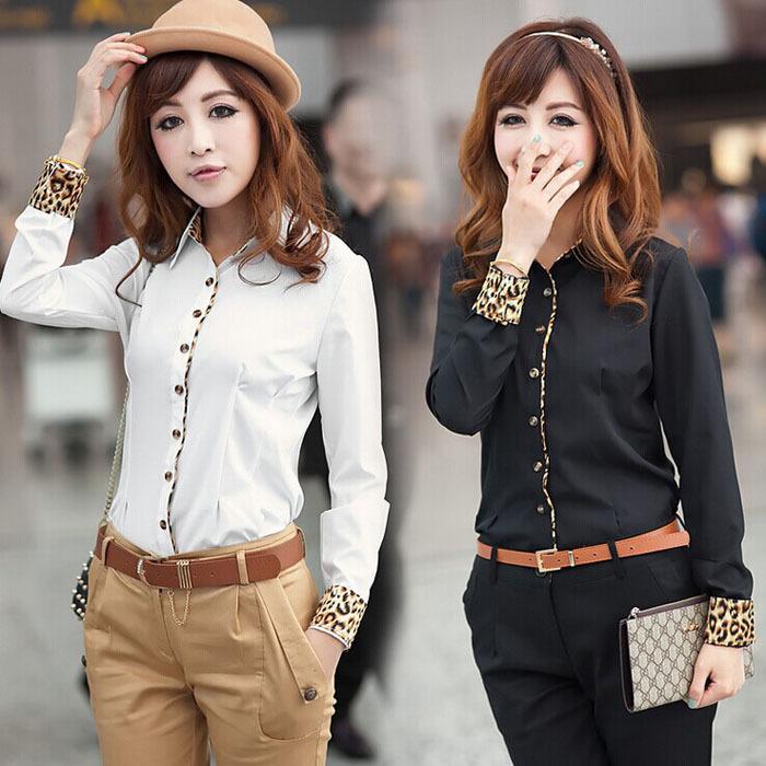 Sanwony 1PC Hot Fashion Women Chiffon Long Sleeve OL Business Leopard Shirt Free Shipping&Wholesales(China (Mainland))