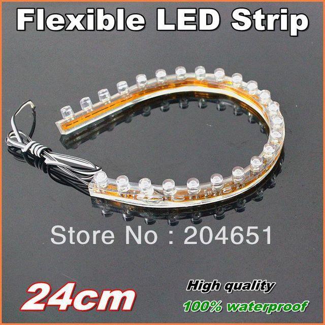 10pcs/lot  24cm PVC  Flexible LED strip light  100% waterproof  LED car decoration light  led DRL 1 year Warranty free shipping