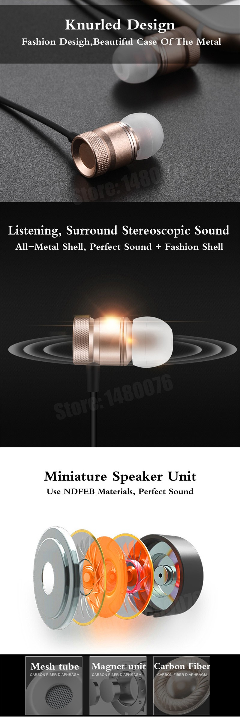 GH-01 Original Supper Metal Shape Earphones Headphones Headset With Microphone For iPhone All Mobile Phone