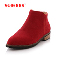 SUBERRY Big Size 41 Women s Chelsea Boots Genuine Nubuck Leather Fishion Life Style Flat Ankle