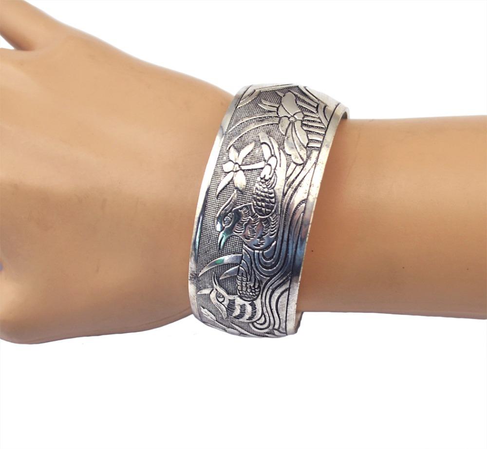 Indian New Vintage Animal Tibet Punk Style Silver Plated Bracelets Charming Mandarin Duck Metal Cuff Bangles Women Fine Jewelry(China (Mainland))