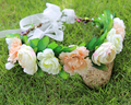 Beige color Bride Bohemian Flower Headband Festival Wedding Floral Garland Hair Band crown Hair Accessories for